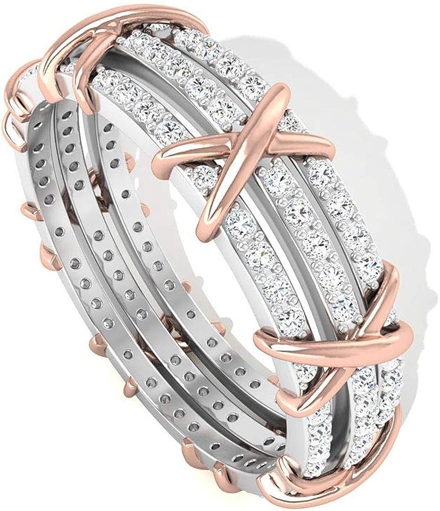 Anillo de boda de diamante certificado IGI de 0,71 quilates de 3 filas, oro macizo, anillo de aniversario de diamantes cruzados, declaración nupcial completa eternidad