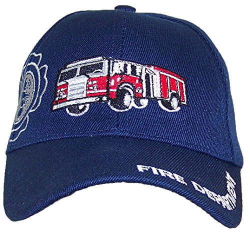Kid/Child Embroidered Fire Truck Adjustable Hook and Loop Hat (One Size) - Navy (Fire Dept Embroidery)