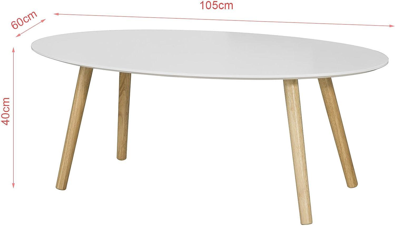 SoBuy Mesa de Centro para Salón,Mesa de Café, Blanco, L105xH40 cm ...