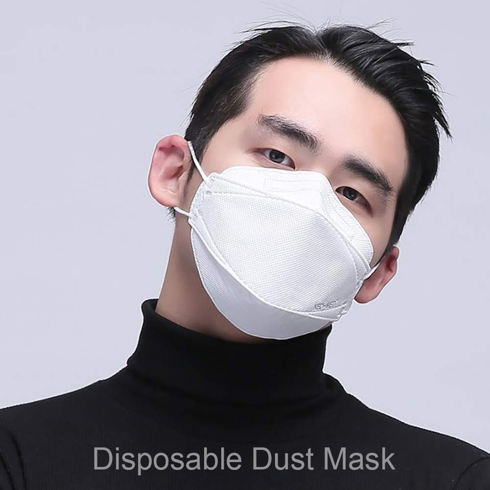 BYyushop Face Mouth Mask, KF94 PM2.5 Dustproof Anti Haze Bacteria Disposable Breathable COVID-19 Protective Mask White 10PCS