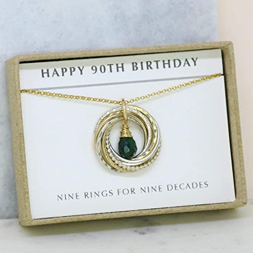 90th Birthday Gift For Her Emerald Necklace Grandmom May