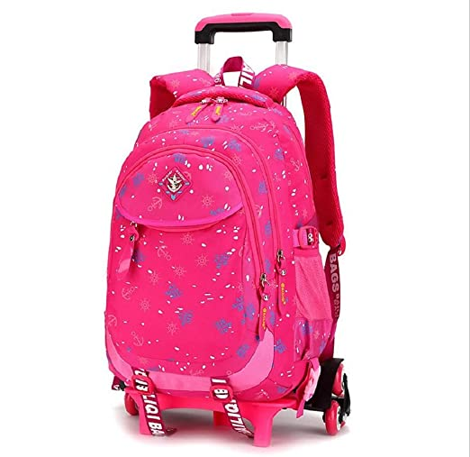 Amazon.com : EZON-CH Blue Trolley School Bag For Girls 3Wheels Backpack Children Travel Bag Rolling Luggage Schoolbag Kids Mochilas Bagpack : Sports & ...