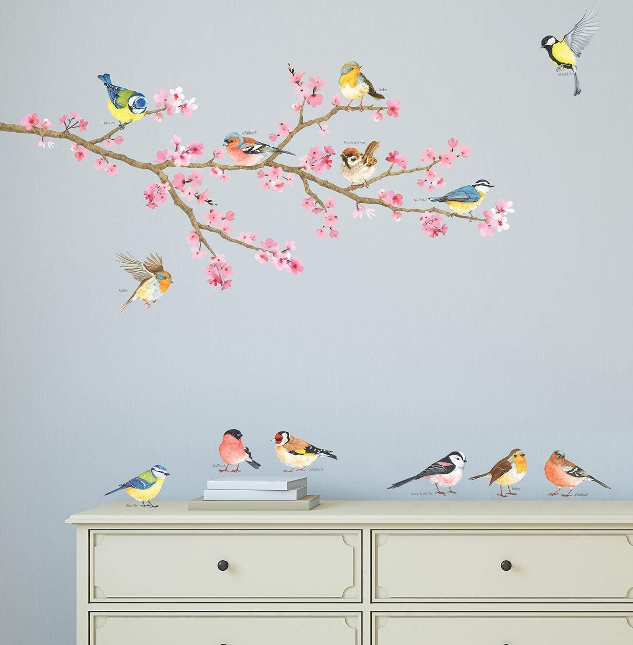 DECOWALL DA-1904 Cherry Blossom /& Uccelli da giardino Vinilo Pegatinas Decorativas Adhesiva Pared Dormitorio Sal/ón Guarder/ía Habitaci/ón Infantiles Ni/ños Beb/és