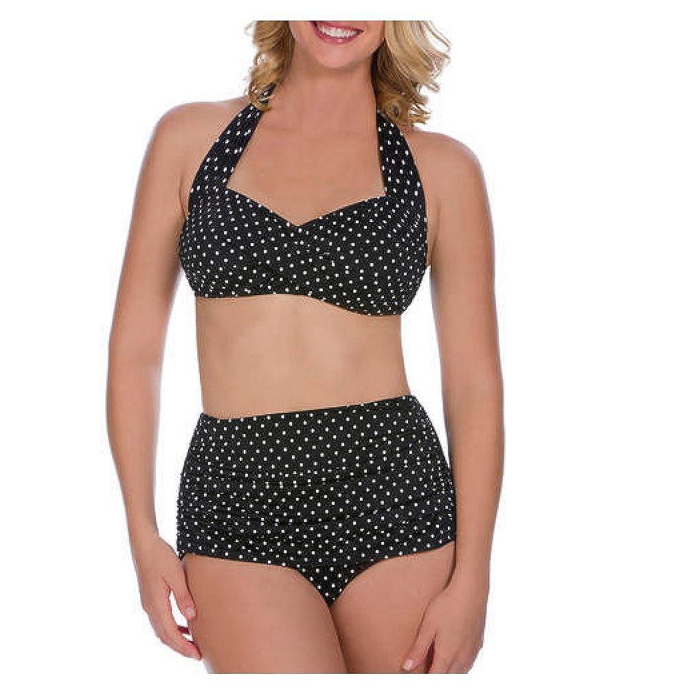 de1fc4704a4e2 Amazon.com  Suddenly Slim By Catalina Women s Slimming High-Waisted Bikini  2 Piece Set (Extra Large