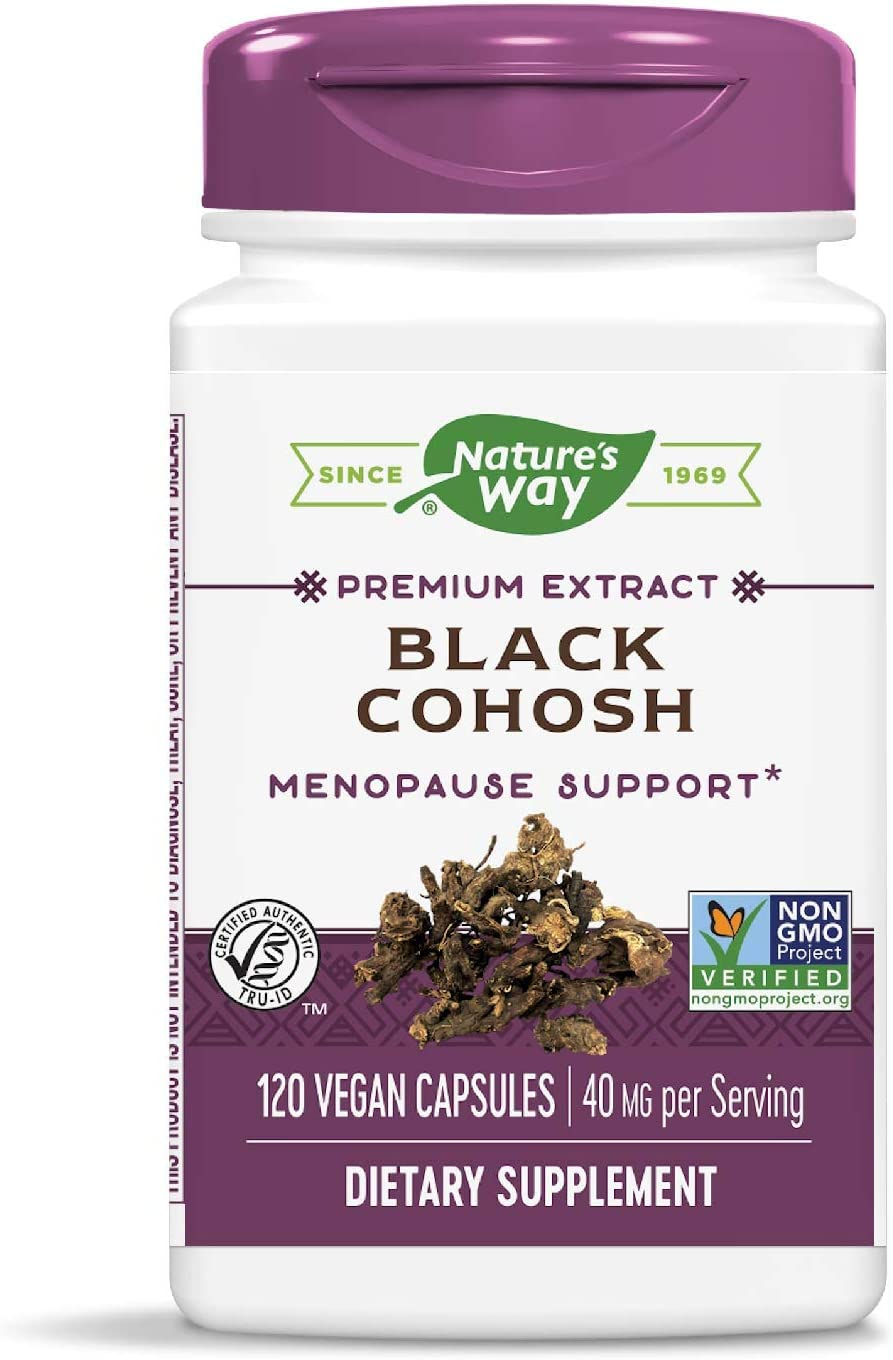 Nature's Way Standardized Black Cohosh, 2.5% Triterpene Glycosides per serving, 40 mg per serving, Non-GMO Project Verified, Gluten Free, Vegetarian, 120 Capsules: Health & Personal Care