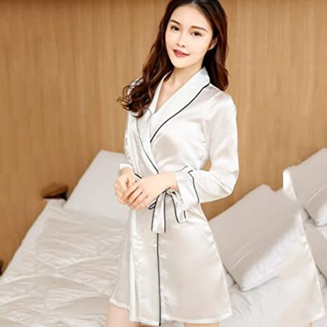 GJM Shop algodón con bolsillos albornoz ---- Señora De Primavera Y Otoño Solapa Bata De Noche Seda ...