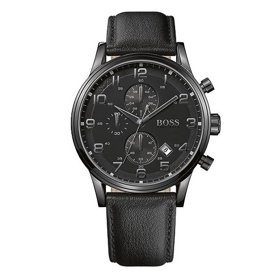Hugo Boss 1512722 - Reloj analógico de cuarzo para hombre, correa de cuero color negro