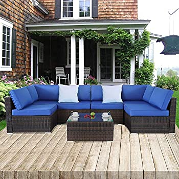 ff070d2b78a Outime Patio Sofa Brown Rattan Garden Sectional Sofa Set Outside Furniture  Wicker Couch Outdoor Rattan Sofa Conversation Sets Royal Blue Cushions 7pcs