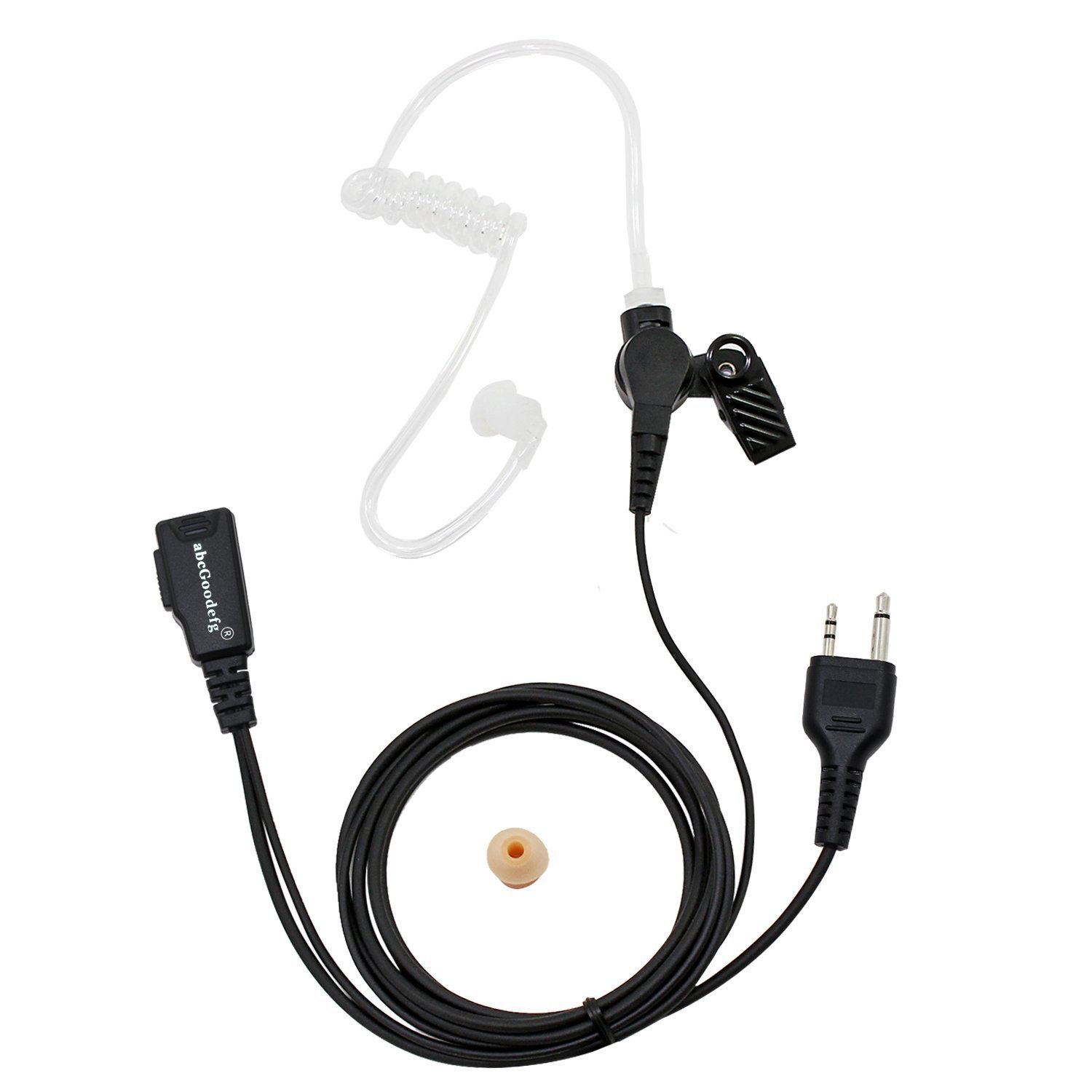 abcGoodefg Midland AVPH3 2 Pin Covert Acoustic Tube Earpiece Earbud Headset for Midland Alan GXT1030VP4 LXT630VP3 LXT600VP3 LXT118 GXT1050VP4 LXT500VP3 GXT1000VP4 AVP-H3 GXT900 Two Way Radio (5PACK) EC-ML-T-5P