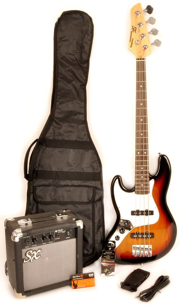 Ursa 2 JR RN PK 3TS Left Handed Sunburst 3/4 Size Bass Guitar Package w/Free Carry Bag, Amp and Instructional Video SX