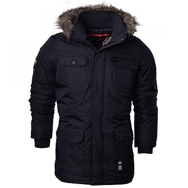0cf6b2fbb029 Crosshatch Mens Heavy Weight Fur Hood  Parked  Parka Padded Waterproof Winter  Coat Jacket XS