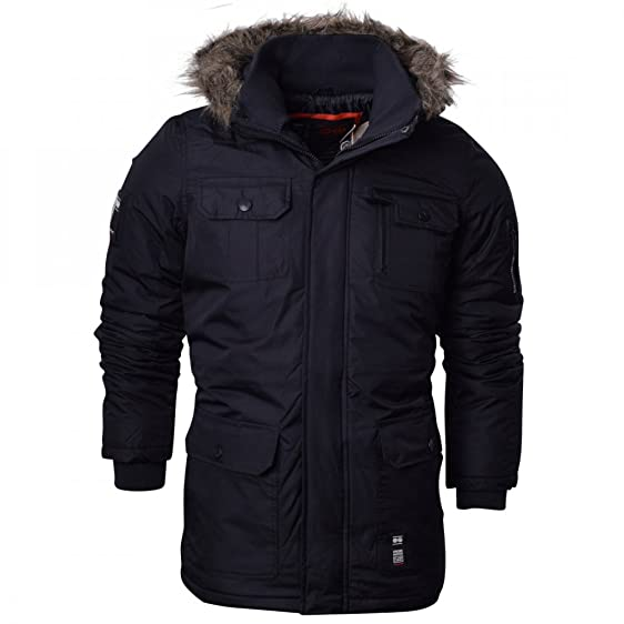 Crosshatch Mens Heavy Weight Fur Hood Parka Padded Waterproof ...