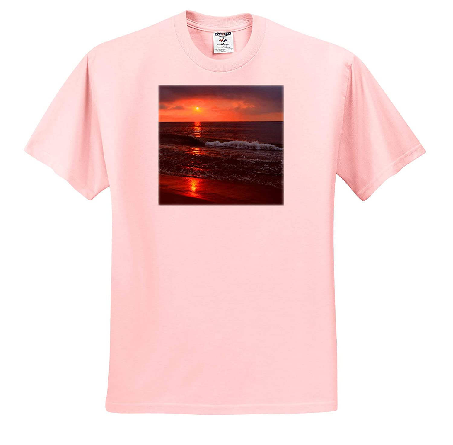 Serene Ocean Sunset Reflection Image of Ocean Sunset Reflection with Reds and Oranges 3dRose Photos by Sara T-Shirts