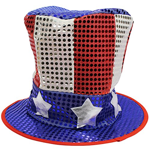 [Sequin Uncle Sam Hat - American Style Sequin US Hat] (Usa Flag Dress Teen Costumes)