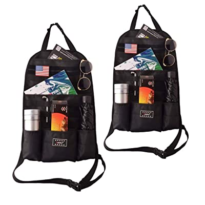Goldfire Car Seat Back Organizer, Tactical Molle Vehicle Panel Universal Fit Car Seat Cover Protector with Extra USA Flag Patch (2 Packs): Automotive