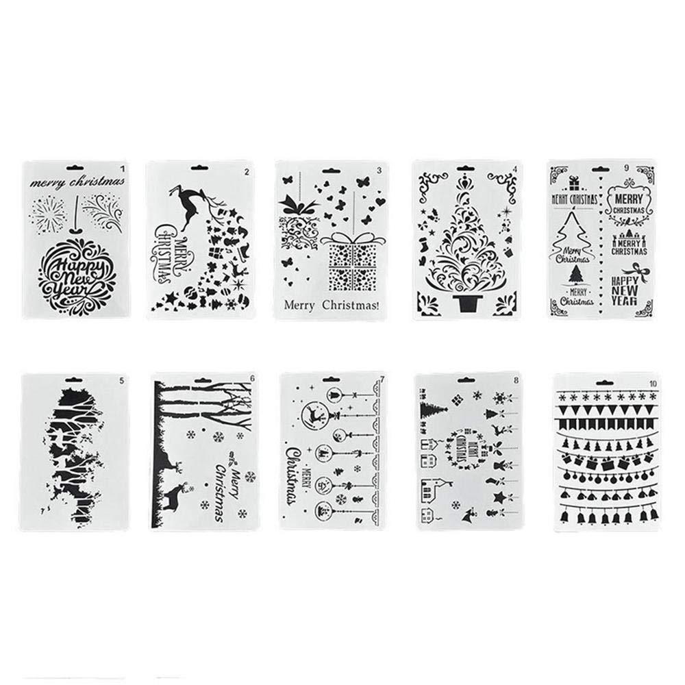 Umiwe 12PCS Set di Stencil Natalizi di Natale, plastica Riutilizzabile (10.23 x 6.77inch) Fai-da-Te Artigianato d'Arte Pittura Modelli di spruzzatura per Vacanze Decorazione Natalizia