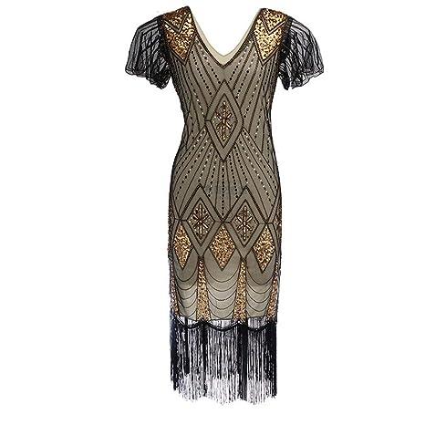 58822b89b67 Midress Women V-Neck Sequins Stitching Shining Short Sleeve Nightclub Dress