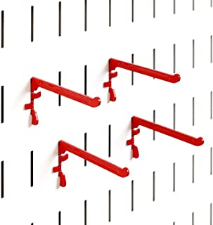 product image for Wall Control Paint Brush Hook and Thread Spool Holder Storage Organizer Pegs for Wall Control Metal Pegboard - (4) Pack of Narrow 3-Inch Reach Slotted Peg Hooks for Paint Brushes and Spools (Red)