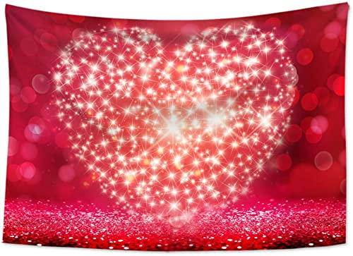 HVEST Valentines Day Tapestry Wall Hanging Loving Heart Shape Halo Wall Tapestry Red Romantic Lover Tapestry Valentines Backdrop for Bedroom Living Room Dorm Party Decor, 92.5Wx70.9H inches