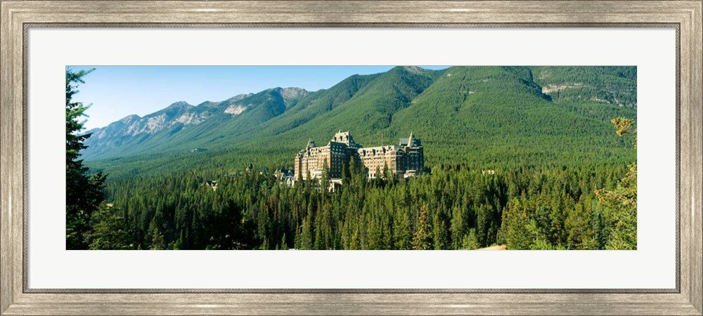 Historic Banff Springs Hotel in Banff National Park, Alberta, Canada by Panoramic Images Framed Art Print Wall Picture, Silver Scoop Frame, 44 x 20 inches
