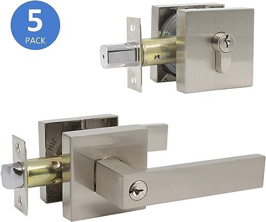 Entrance Satin Nickel Lever Handle Door Entry  Lock LH RH reversible