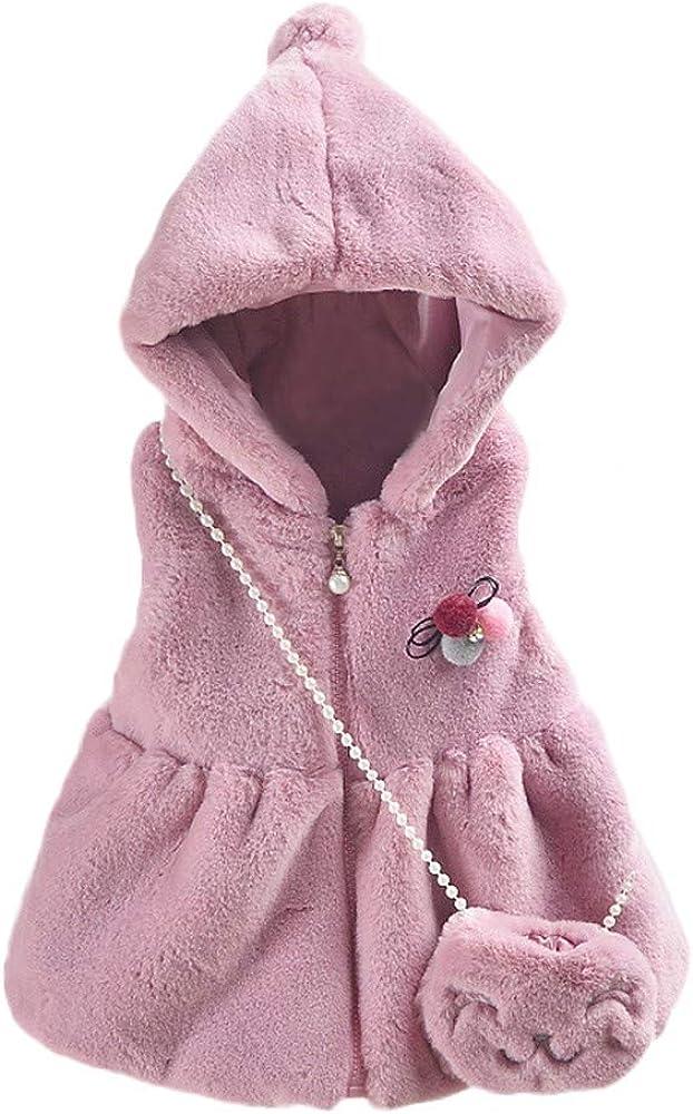 Cute Faux Fur Zipper Hooded Warm Party Waistcoat Vest Tops with Bag XILALU Toddler Kids Baby Girl Sleeveless Dress Coat