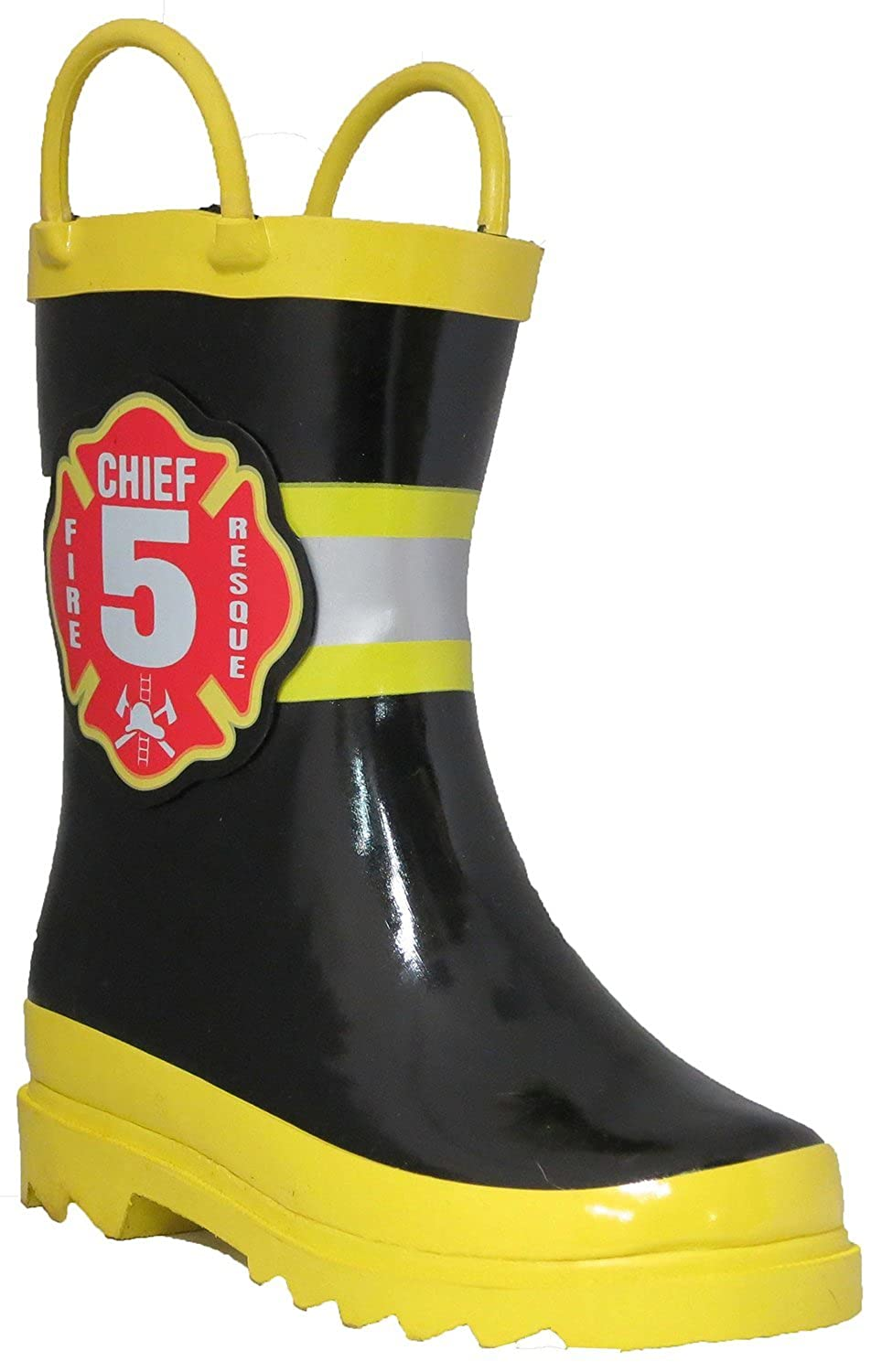 Puddle Play Kids Boys' Fire Chief Printed Waterproof Easy-On Rubber Rain Boots (Toddler/Little Kids)