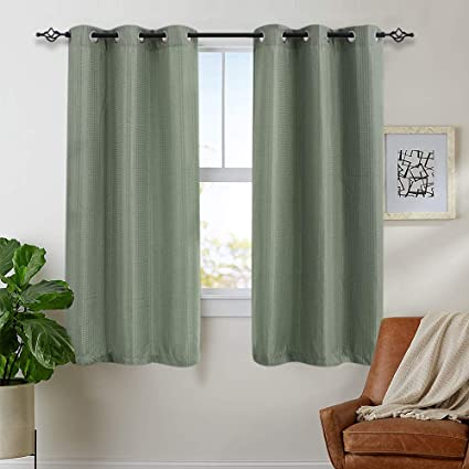 Room Darkening Curtains for Bedroom 54 inches Long Privacy Waffle-Weave  Textured Living Room Window Curtain Set, Olive, 2 Panels