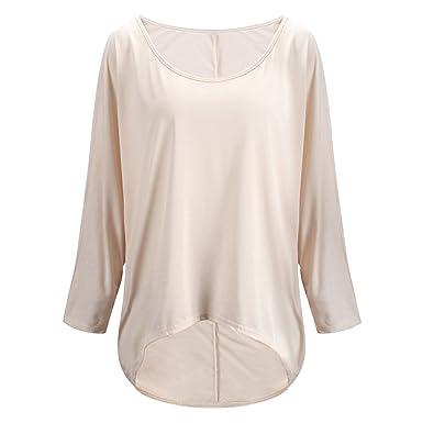 f4dffc84a5c5f Jolisson T-Shirt Manche Longue Femme Fille Uni Blouse Pullover Loose Mode  Confort Causal Printemps