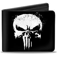 "Buckle Down mens Buckle-down Pu Bifold Wallet - Punisher 2017 Series Icon Black/White Bi-Fold Wallet 4.0"" x 3.5"""