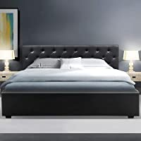 Artiss King Bed Frame Leather with Gas Lift Storage Black