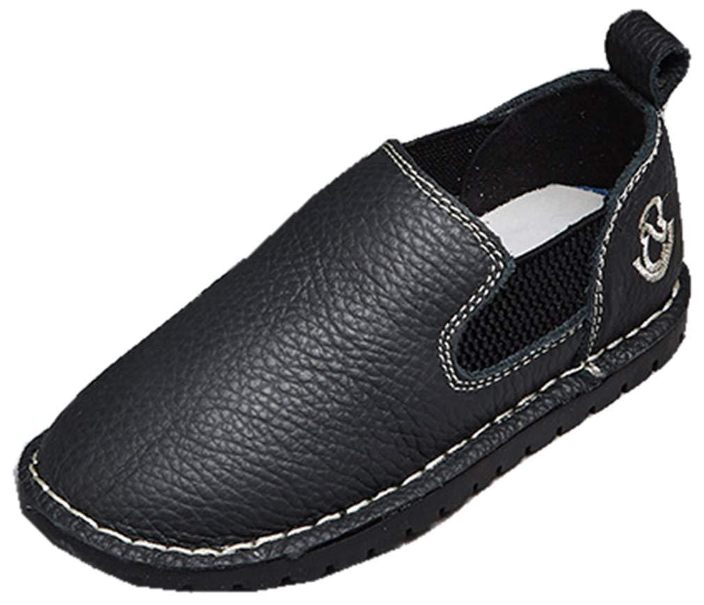 VECJUNIA Boy's PU Casual Slip-On Loafer Shoes Low Top School Uniforms (Black, 1.5 M US Little Kid)