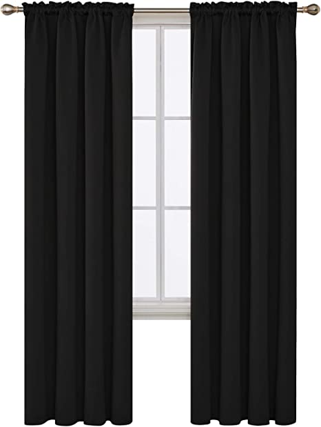 Deconovo Black Blackout Curtains Rod Pocket Curtain Panels Room Darkening Curtains For Living Room 52 W X 84 L Inch 2 Panels Home Kitchen