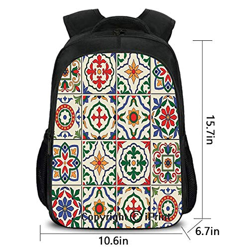 3D Printing Customized Backpack,Gorgeous Classic Pattern of Flowers Leaves Traditional Designed,School Bag :Suitable for Men and Women,School,Travel,Daily use,etc.Fern Green Violet Blue Beige