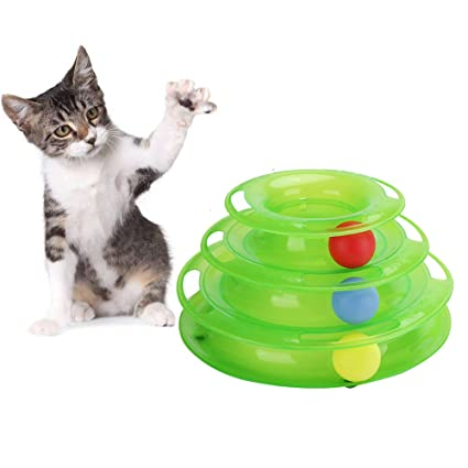 JunBo Cat Roller Toys with Balls Interactive Cat Toys in 3 Level Tower (Green)