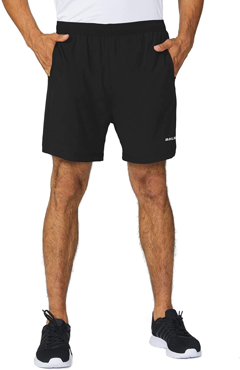 BALEAF Men's 5 Inches Running Athletic Shorts Zipper Pocket : Clothing