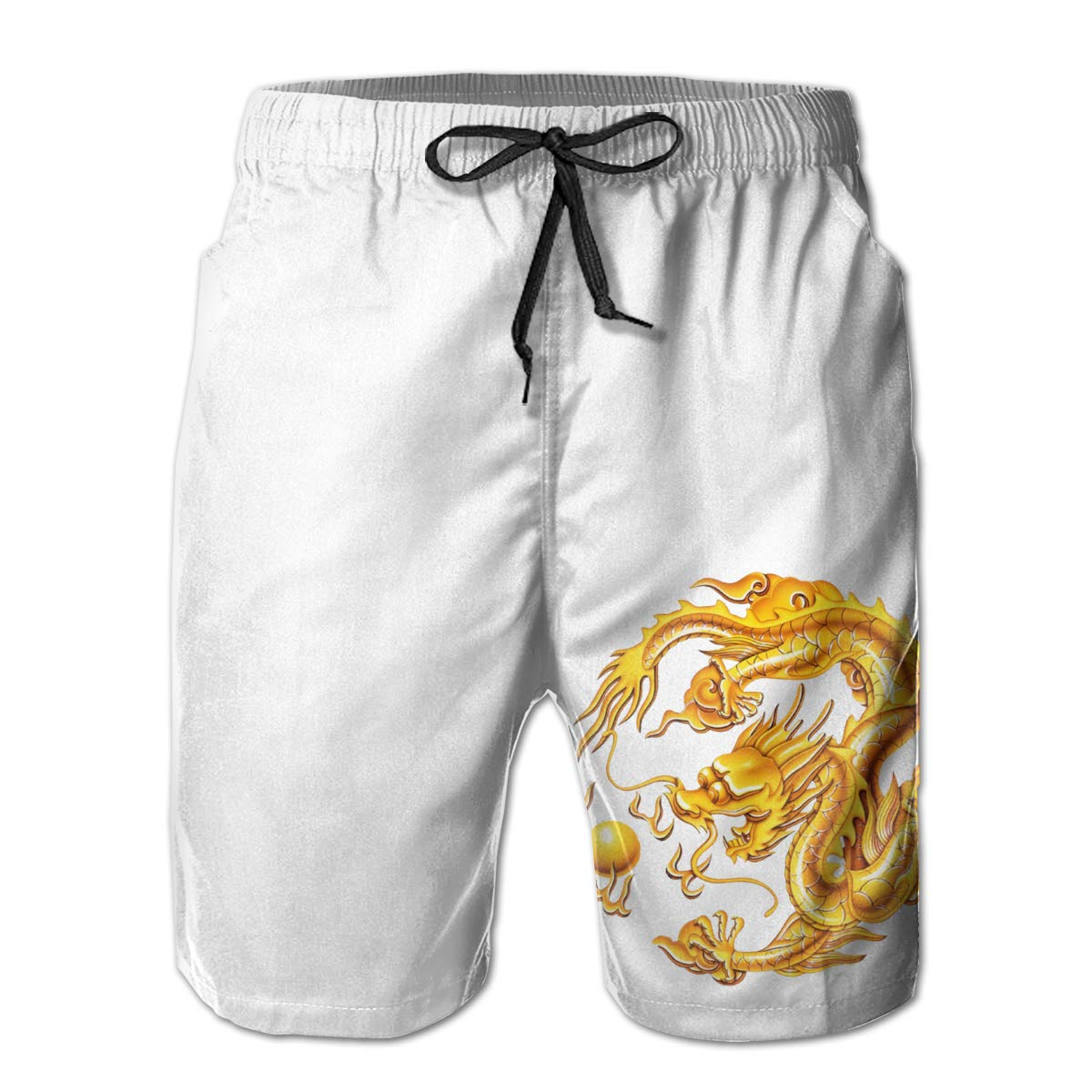 HZamora/_H Mens Chinese Gold Dragon Summer Breathable Quick-Drying Swim Trunks Beach Shorts Cargo Shorts L