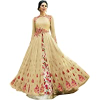 Drashti villa Women's Heavy Embroidered Work Bridal Wedding Gown and Anarkali (Jordar Cream_Free size)