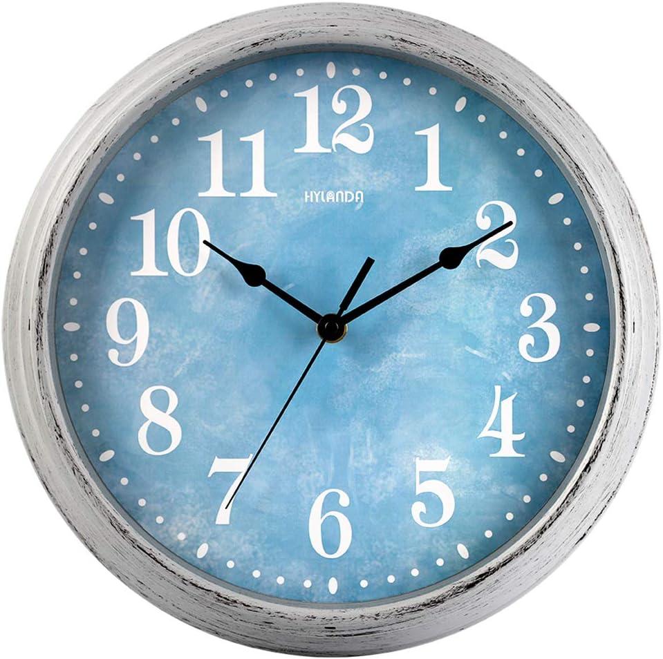 HYLANDA Wall Clock, 12 Inch Retro Quartz Silent Non Ticking Clock, Vintage Round Wall Clocks Battery Operated, Decorative for Kitchen Living Room Home School Office(Ocean Blue)