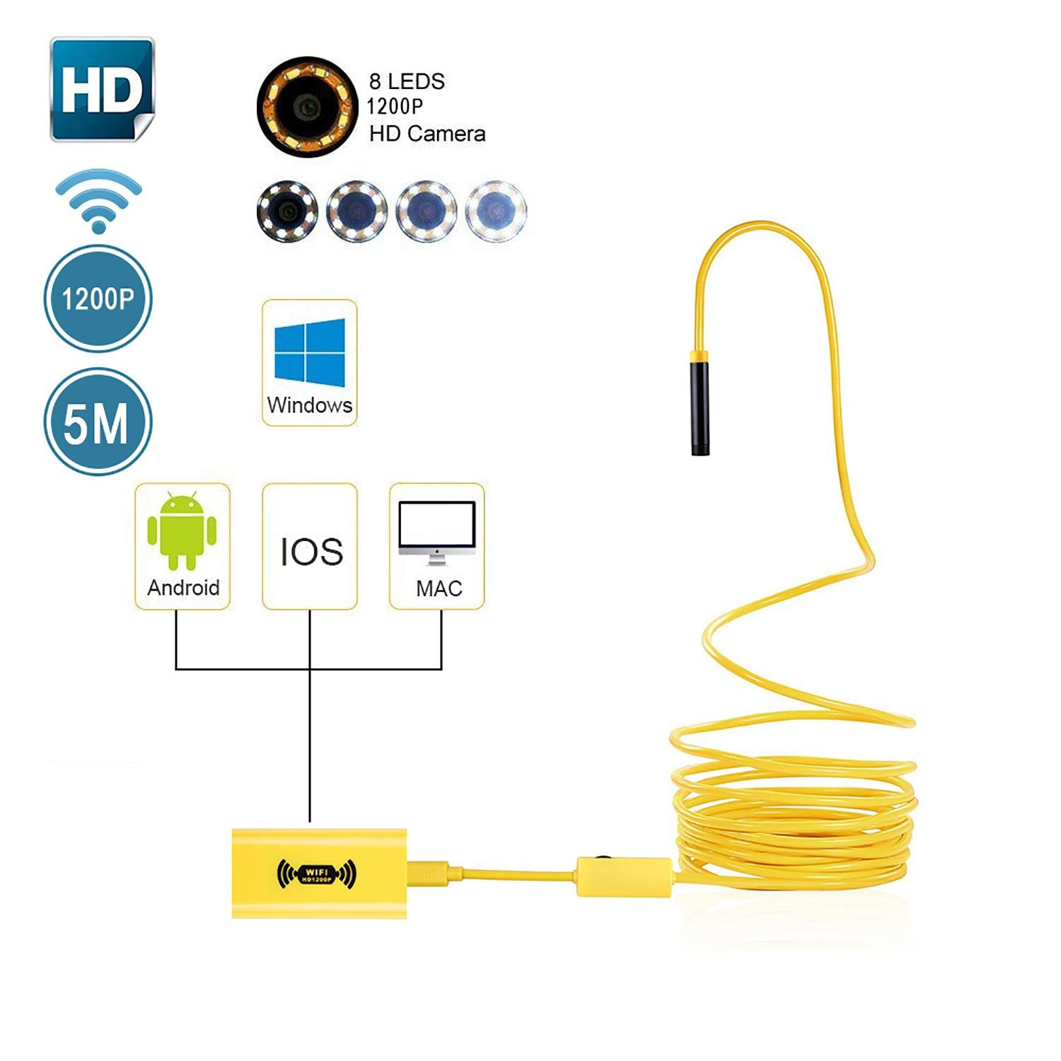 Wireless Endoscope, niceEshop(TM)[Updated] HD1200P IP68 Waterproof Endoscope Inspection Camera WIFI Borescope Semi-rigid with Suction Cup for iPhone/IOS/Android/Windows/Mac, 6.6FT/2 M
