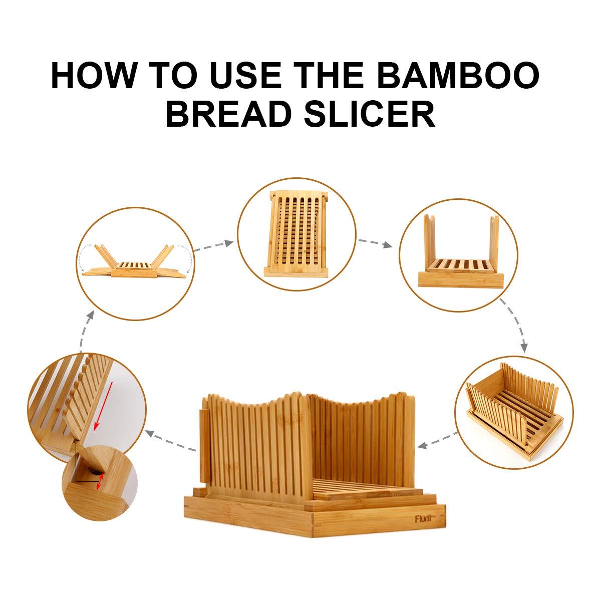 Flurff Bamboo Bread Slicers for Homemade Bread, Compact Foldable Bread Slicer Guide, Wooden Bagel Slicer