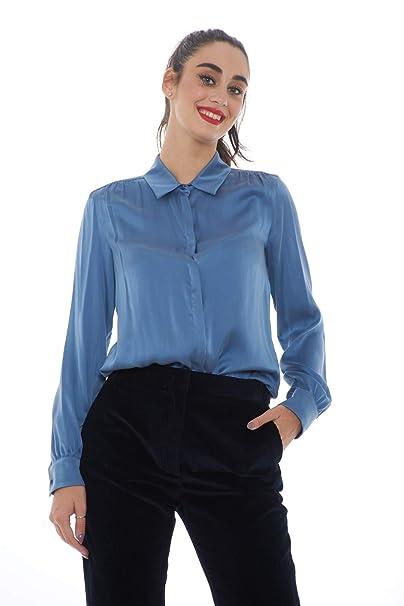 8a01322e341b Weekend MaxMara AFONE Camicia Donna in Seta - Azzurro  Amazon.it   Abbigliamento