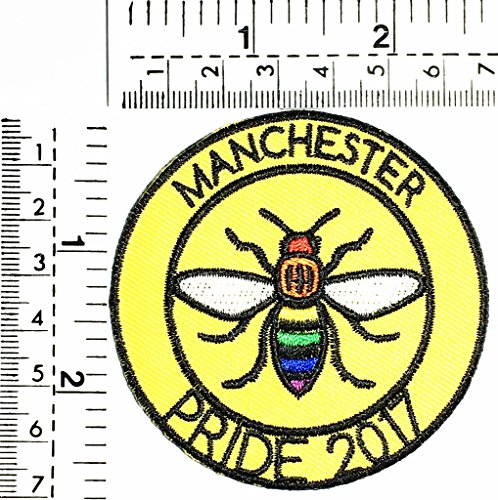 Manchester PRIDE 2017 bee fantasy bee kids Children cartoon patch Applique for Clothes Great as happy birthday gift]()