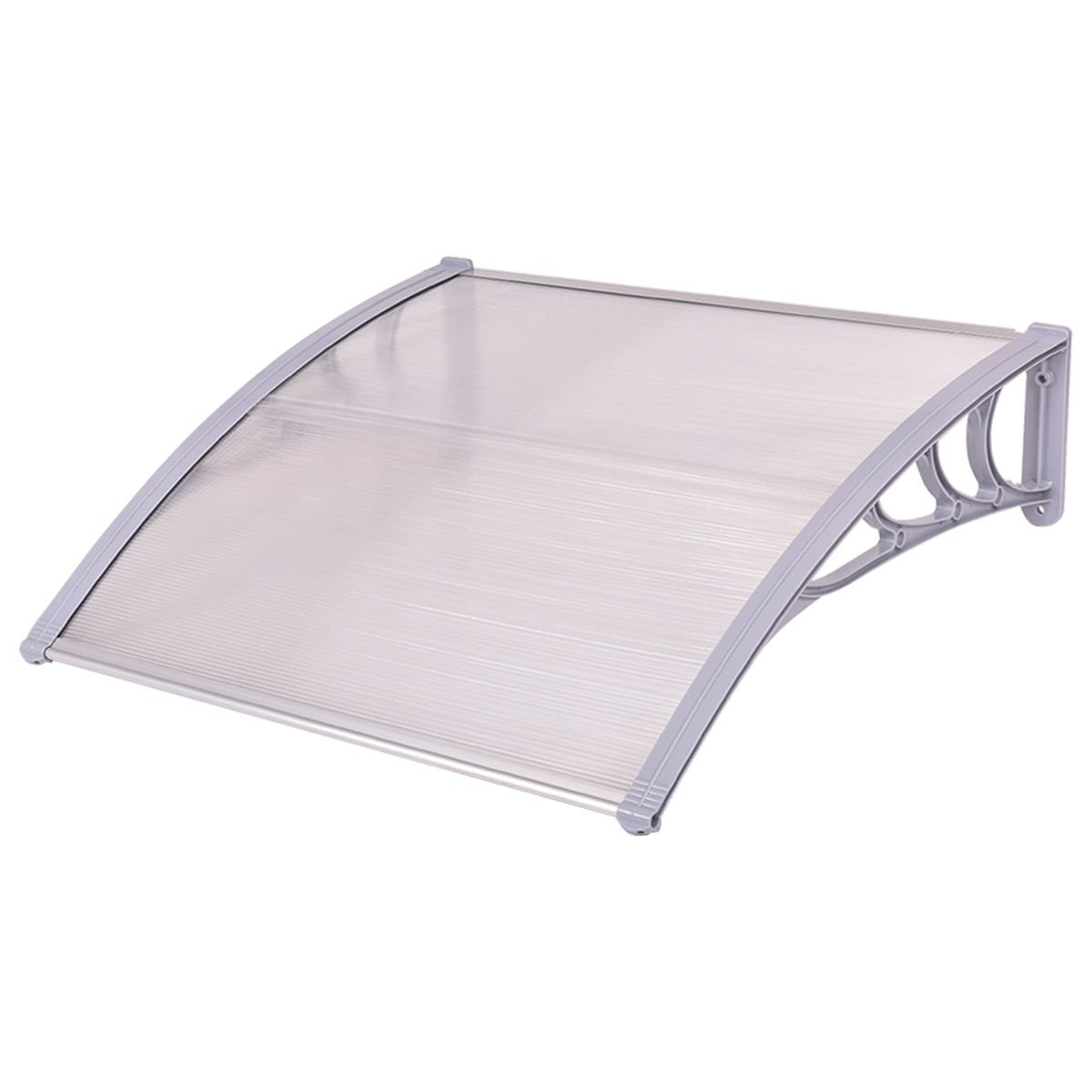 Tangkula 40''x 40'' Window Awning Modern Polycarbonate Cover Front Door Outdoor Patio Canopy Sun shetter 3 Colors (Clear with Grey Edge) by Tangkula