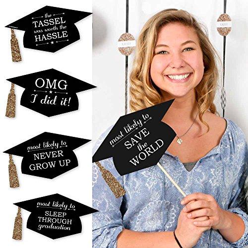 Hilarious Graduation Caps – Gold – Graduation Photo Booth Prop Kit – 20 Count