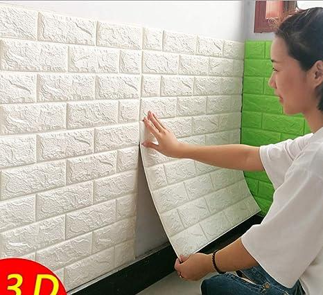 10Stück 70x77CM DIY Selbstklebend Brick Muster Tapete Wasserdicht Tapeten Stein~Wandtapete Steinoptik Mauer in Backsteinoptik