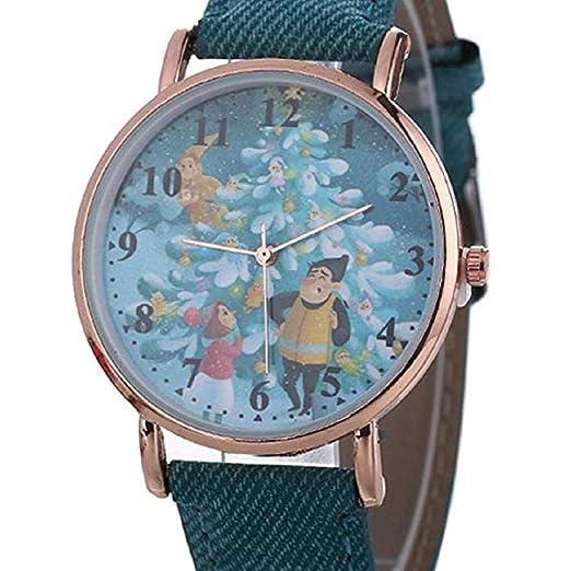 Scpink Relojes de Cuarzo para Mujer Navidad Santa Claus Analog Clearance Lady Relojes Relojes para Mujeres
