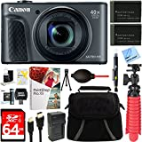 Canon PowerShot SX730 HS 20.3MP 40x Optical Zoom Digital Camera (Black) (1791C001) + Two-Pack NB-13L Spare Batteries + Accessory Bundle