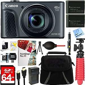 Canon PowerShot SX730 HS 20.3MP 40x Optical Zoom Digital Camera (Black) (1791C001) + Two-Pack NB-13L Spare Batteries + Accessory Bundle