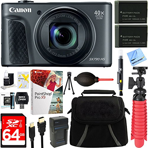 Canon PowerShot SX730 HS 20.3MP 40x Optical Zoom Digital Camera (Black) (1791C001) + Two-Pack NB-13L Spare Batteries + Accessory Bundle by Canon